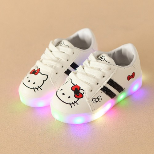 Lace up animal prints cartoon first walkers All season unisex girls boys sneakers Pu LED