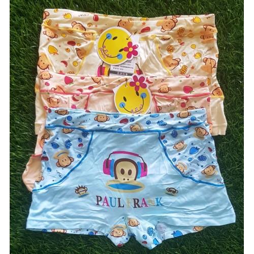 Set Of Three Cotton Children Boys Boxer Shorts Kids Cartoon Printed Soft Panties High Quality