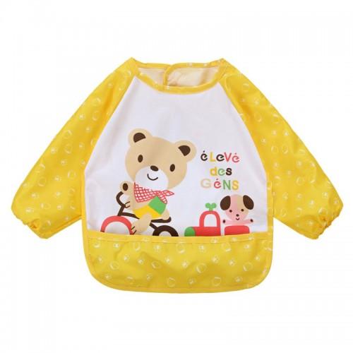 Yellow Lovely Baby Kids Printed Infant Long Sleeve Anti Wear Waterproof Feeding Bibs