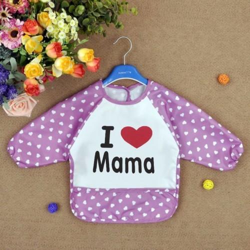 Lavender Lovely Baby Kids Printed Infant Long Sleeve Anti Wear Waterproof Feeding Bibs