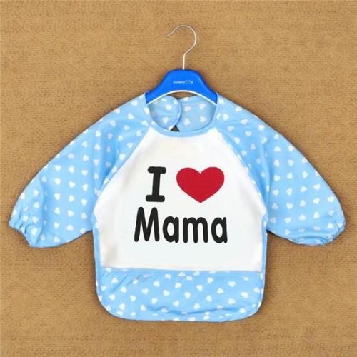 Blue Lovely Baby Kids I Love Mama Printed Infant Long Sleeve Waterproof Feeding Bibs
