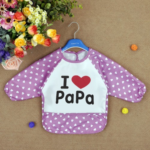 Purple Lovely Baby Kids I Love Papa Printed Infant Long Sleeve Waterproof Feeding Bibs