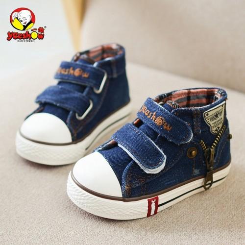 Children Canvas Shoes Boys Fashion Sneakers Kids Casual Zipper Shoes Girls Jeans Denim Flat Boots