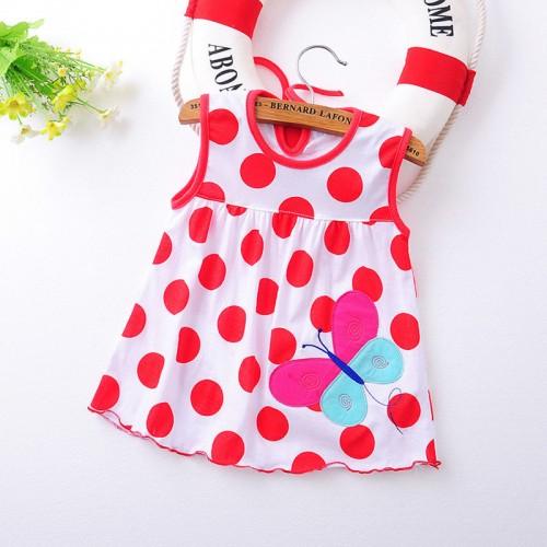 White Polka Fashion Toddle Baby Girls Beach Style Floral Print Party Princess Dress