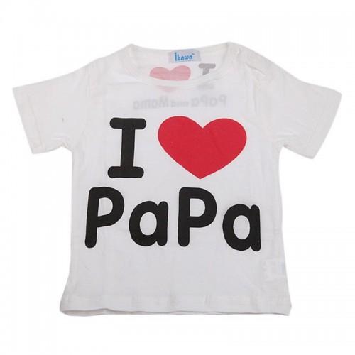 I Love Papa Baby Boys Girls Cotton Short Sleeve T-Shirt