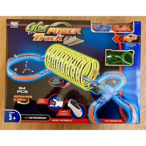 94Pcs Remote Control Glow Power Track Set Luminous Playing Toy