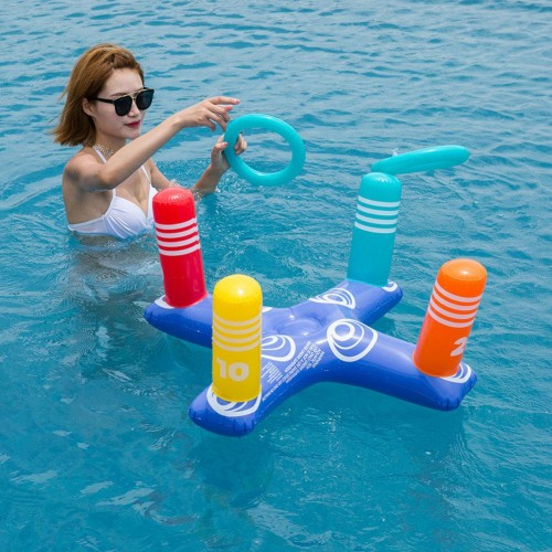 Inflatable Swim Pool Throwing Rings Cross Ring Game Water Sports Swim Pool Float Children Party Game