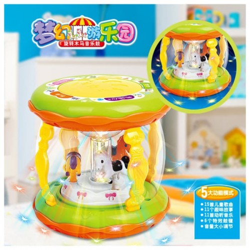Wonderland Merry Go Round Music Drum Light With Musical Instrument Sounds Toy For Kids