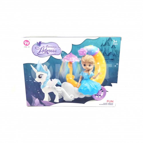 Princess Elsa Moon Cute Carriage Play Toy With Lights For Girls