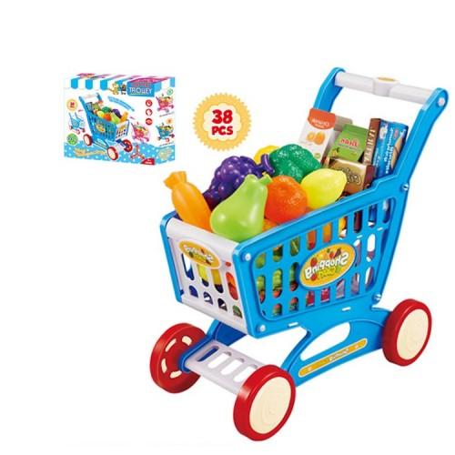 38Pcs Kid Mini Shopping Cart Flexible Wheels Toy Detachable Colorful Trolley Toy