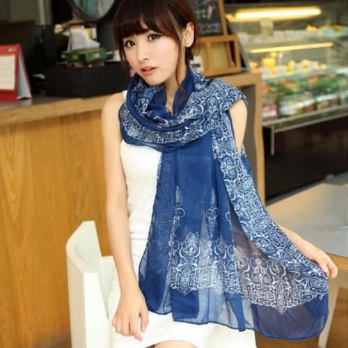 New Blue Fashion Trendy Women Long Bohemian Print Wrap Shawl Scarf Ladies Big Girl Scarf Tole Styles