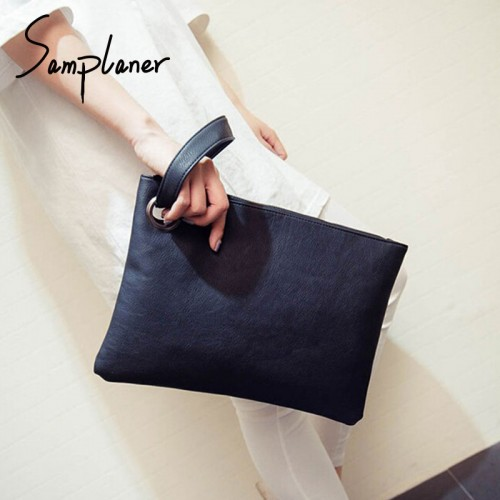 Fashion Wristband Handbag Women Clutch Bags Leather Solid Envelope Bag Female Day Clutch Evening Bag Ladies