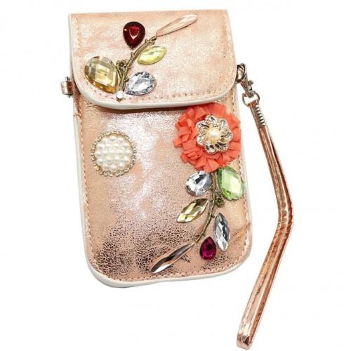 Gold Sliver Mobile Phone Mini Bags Small Shoulder Bag diamonds Leather Women Handbag ladies Clutch Purse