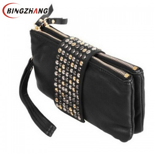 Women wallet Clutch Bag New Arrive Hot selling PU Leather Foctory Price Fashion designer Rivet