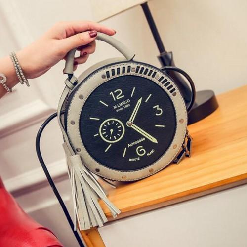 DALFR Women Leather Handbags Casual Pu Shoulder Bag Women Clock Shape Crossbody Bags Luxury Handbags Women