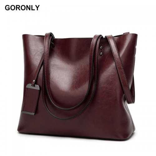 GORONLY Brand New Leather Tote Bag Women Handbags Designer Large Capacity Shoulder Bags Fashion Lady Purses