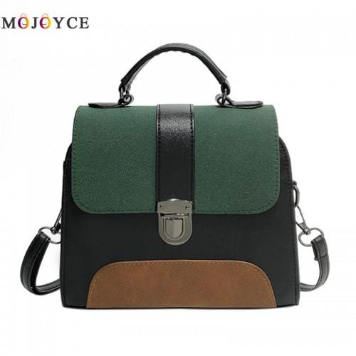Women PU Leather Sling Handbag Girls Crossbody Bag Patchwork Color Messenger Shoulder Bag Elegant Large Purse