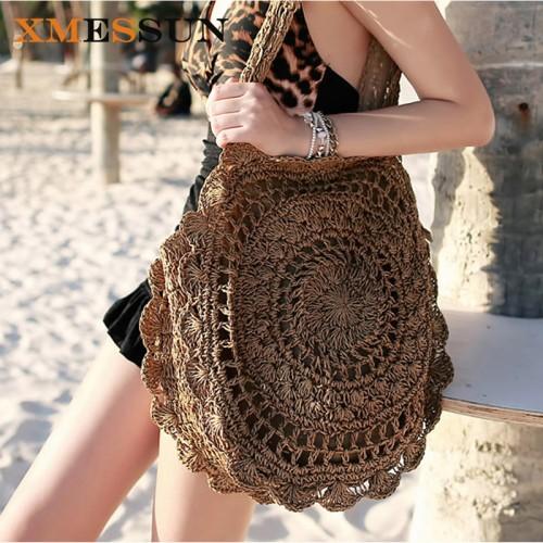 XMESSUN Bohemian Straw Bags for Women Big Circle Beach Handbags Summer Vintage Rattan Bag Handmade