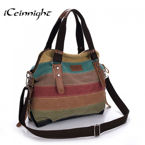 iCeinnight Canvas Striped Women Messenger Bags High Quality Casual Tote Big Handbag School Shoulder Bag with