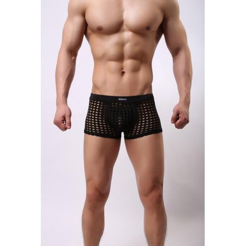 Men's Net Mesh Hollow Boxers - Black