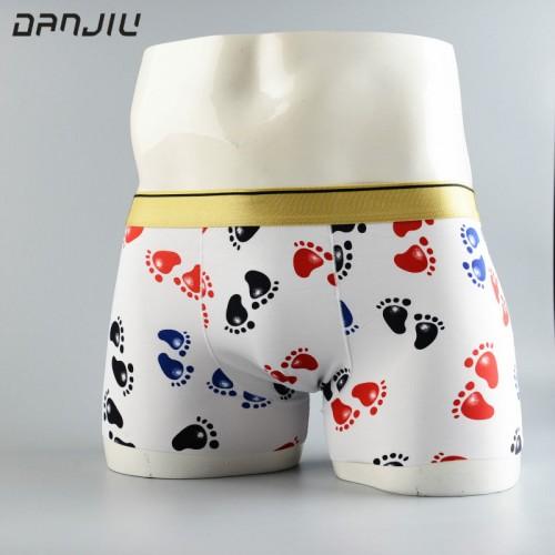 DANJIU Best Sell Fashion Ice Silk Underwear Men Cartoon Print Boxer Shorts Homme Comfortable Underpants Breathable