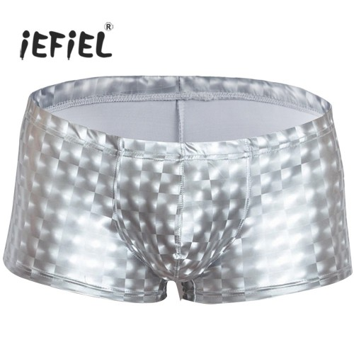 iEFiEL Fashion Mens Patent Leather Pouch Boxer Short MAN 3D Trunks Slim Cut Underwear Underpants Swimwear