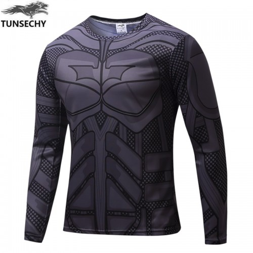 Grey Iron Man Printed Long Sleeves Quick Dry T Shirt