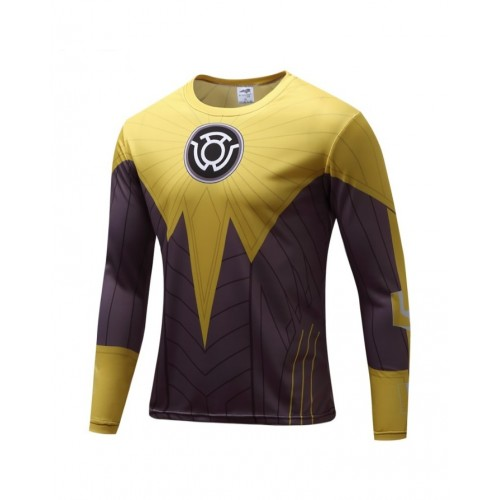 Yellow Symbol Printed Long Sleeves Quick Dry T Shirt