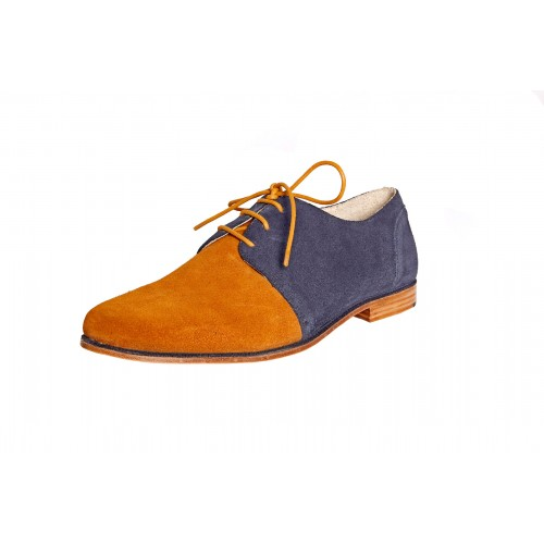 Castillo Genuine Leather Ferado Blue - Brown Shoes