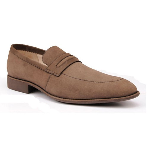 Castillo Genuine Leather Pocram Brown Nubik Shoes