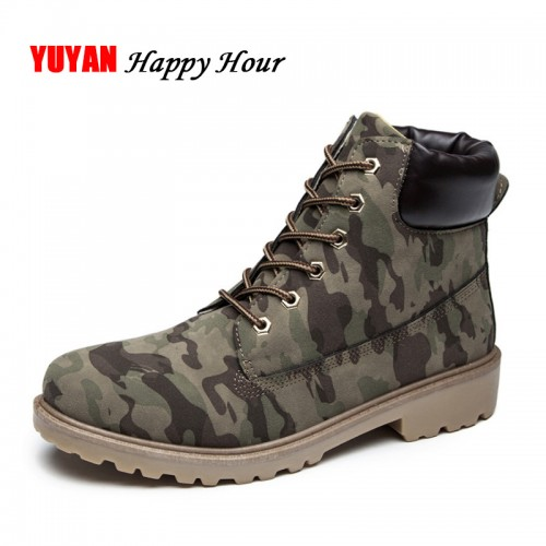 Autumn Winter Boots Men Winter Shoes Camouflage Warm Plush Fashion Brand Mens Ankle Boots