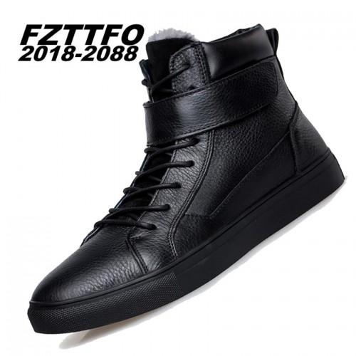 Big Size Winter Add Fur men boots handsome comfortable brand genuine leather