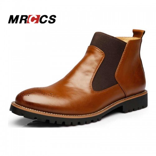Brand Spring Autumn Fashion Men s Chelsea Boots British Style Fashion Ankle Boots Black Red
