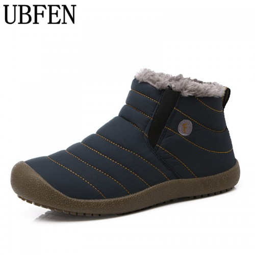 Men Winter Men Shoes Solid Color Snow Boots Cotton Antiskid Bottom Keep Warm Waterproof