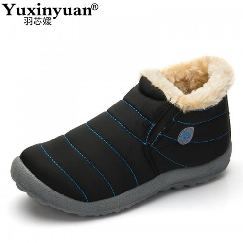 Men Winter Shoes Solid Color Snow Boots Cotton Inside Antiskid Bottom Keep Warm Waterproof