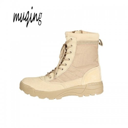Muqing Sport Army Men Combat Tactical Leather Ankle Boots Military Male Combat