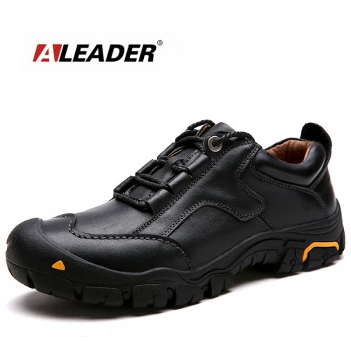 ALEADER Durable Mens Safety Shoes Genuine Leather Oxford Shoes Waterproof Casual Shoes For Men Comfortable Work