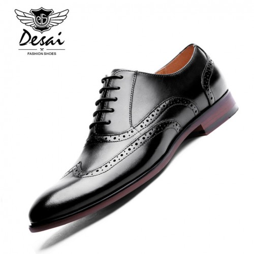 DESAI Brand Full Grain Leather Men Oxford Shoes Retro Carved British Style Bullock Formal Men Dress