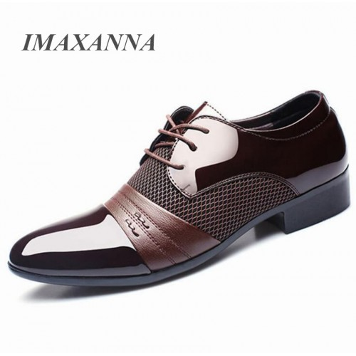 IMAXANNA Men Leather Shoes Business Flat Black Brown Breathable Summer Autumn Dress Shoes Plus Size