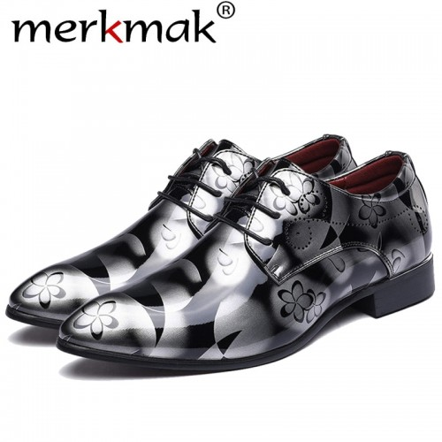 Merkmak Fashion Men Dress Wedding Shoes Round Toe Man Flats Business Leather
