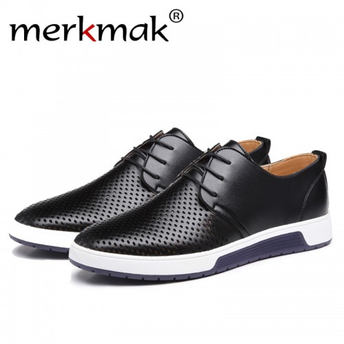 Merkmak Luxury Brand Spring Summer Breathable Holes Men Shoes Casual Leather Fashion Trendy Men Flats Ankle