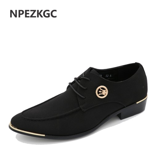 NPEZKGC New Style Cloth Oxford Shoes for Men Dress Wedding Shoes Leather Office Men Flat Shoes