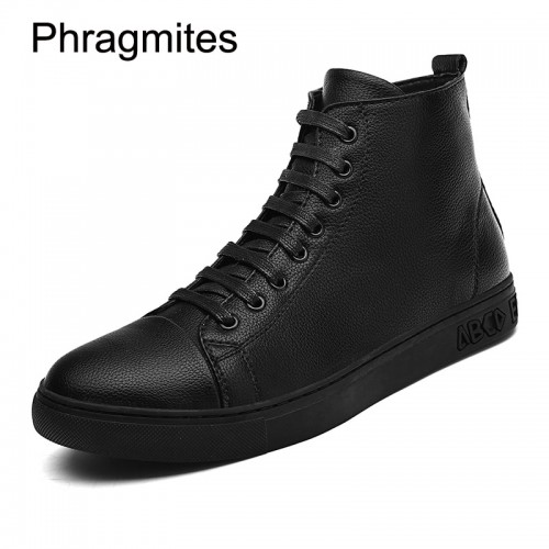 Phragmites black men boots plus size fashion sneaker men shoes leather all match black