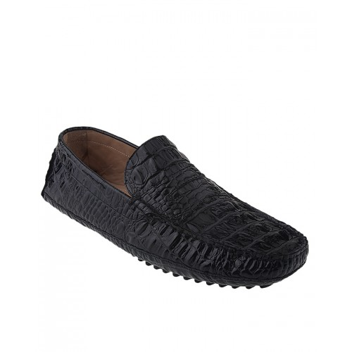Castillo Genuine Leather Gamble - Black Croco Shoes