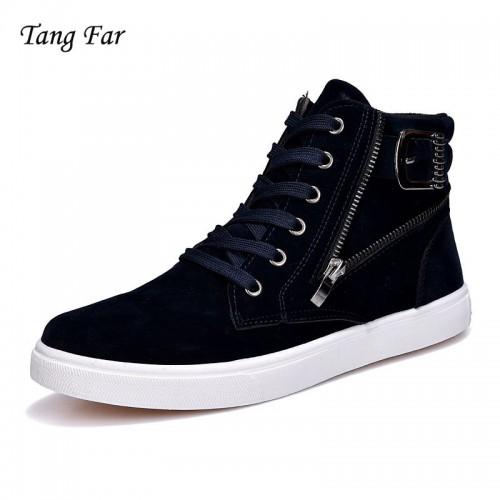 High Top Men Fashion Casual Shoes Black Men Outdoor Shoes Waterproof Flat Leisure Shoe Male