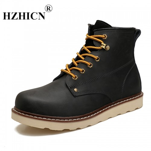 Men s two layer leather shoes outdoor high top casual versatile tool wear resistant street fashion