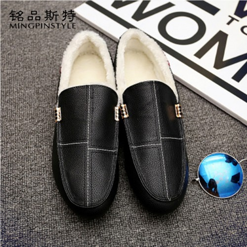 Mingpinstyle Men s Casual Shoes Cashmere Solid Low Help Light Fashion Peas Shoes Male Soft Comfortable