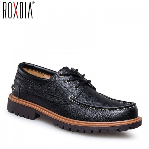 ROXDIA genuine leather casual men flats waterproof loafers dress shoes for work flat male driver shoe