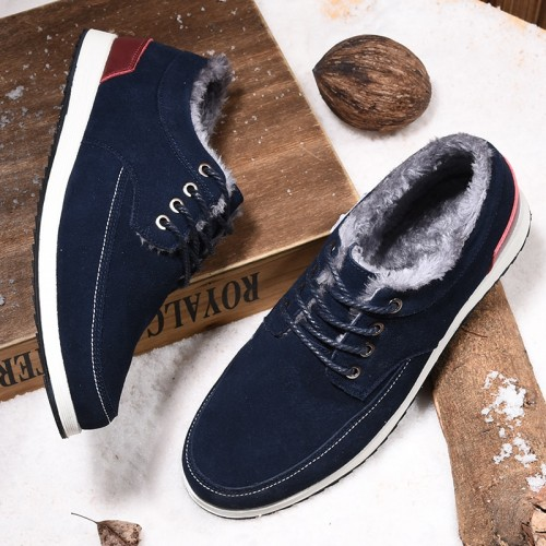 SUROM Brand Men Casual Shoes Leather Suede Winter Warm Fur Sapato Masculino Comfortable Lace Up Flats