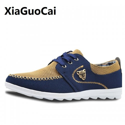 Sewing Men Casual Shoes Canvas Lace Up Patchwork Breathable Fashion Zapatillas Hombre Light